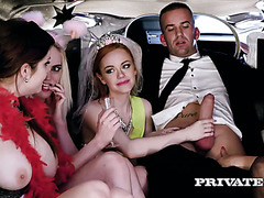 A bride and her bridesmaids get wild in a limo with a lucky driver