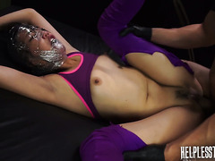 Miko Dai gets her face wrapped in plastic during hardcore sex