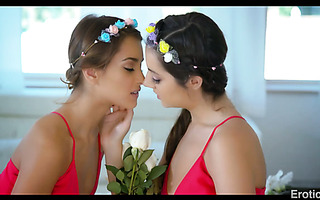 Lesbian nymphs Lily Adams and Uma Jolie lick pussies till they cum