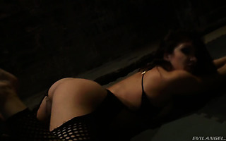 Lea Lexis gets viciously fucked in each hole in a dark room