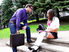 Dumb ass college chick Heidi gets pounded by her handsome math teacher
