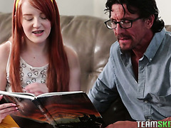 Dad's old friend helps redhead Krystal Orchid with math and then digs her tiny cooch