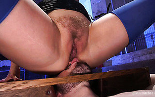 Cherry Torn turns her slave into seat and ashtray during BDSM session
