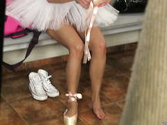 Peeking on sweet Russian ballerina Adela masturbating in a locker room