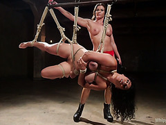 Extreme lezdom punishment of thick Izamar Gutierrez by filthy mistress Ariel X