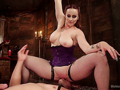 Man slave gets milked and smothered by thick redhead mistress Bella Rossi