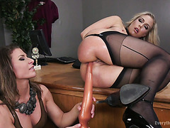 Thick MILF slave Angel Allwood gets her big ass stretched out by Ariel X