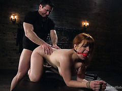 Russian mafia boss widens huge ass of redhead Penny Pax with his Slavic dick