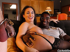 Black stud shows white cuckold how a real man should fuck Gabriella Paltrova