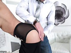 Hazel Dew enjoys dick in her pussy and then lets him try her other hole