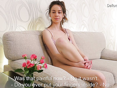 Cute Russian virgin Sarah Pipetka exposes her natural beauty and fondles her muff
