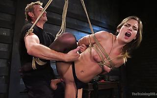Bitchy blond babe Sydney Cole enjoys brutal hate fucking in rope bondage