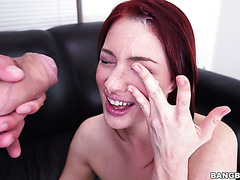 Classy redhead chick Jessica Ryan gets interviewed and doggyfucked on casting