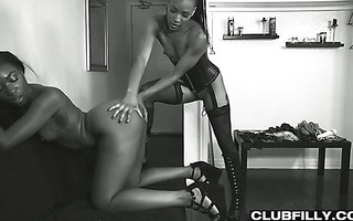Torrid duet of black babes Chanell Heart and Nikki Darling get lesbo with white punk Leigh Raven