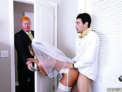 Busty MILF Brooklyn Chase fucks groom's hunky son right before wedding