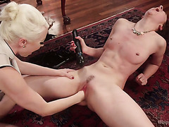 Mean dominantrix Lorelei Lee fists and strapons both holes of slave Lilith Luxe