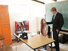 Stepdad principal finally pokes teacher stepdaughter Nina Skye