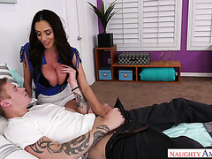 Extra busty latina cougar Ariella Ferrera helps young dude to empty his balls