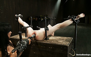 Helpless skinny teen Sensi Pearl is punished with fisting dildo-drill