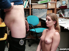 Fine ass babe Daisy Stone is doggystyled by security guy for stealing