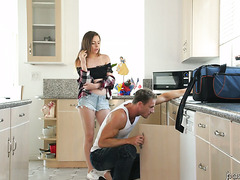 Young and unfaithful wife Alex Blake fucks with ripped plumber