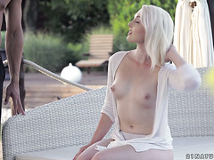 Godlike blondie Lovisa Fate makes love in the garden