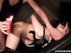 Virginal butthole of thick Asian Hotaru Ohsawa is fucked by master