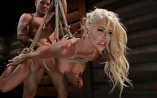 Bimbo Courtney Taylor is suspended and doggyfucked brutally