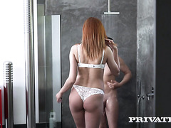 Ravishing Russian redhead Stasy Riviera takes it up all holes of hers
