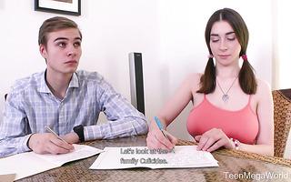 Busty Russian teen Clary fucks coed when tutors takes a break