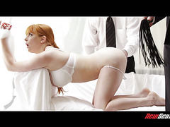 Obedient redhead Penny Pax is owned by two arrogant masters