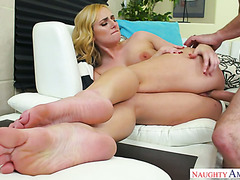 Creampie for curvy blond Kate England after steamy fuck