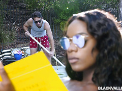 Rich black babe Ana Foxxx handles pool boy's fat white cock