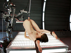 Little slave Sensi Pearl orgasms on fucking machine and sybian