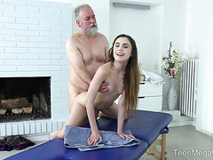 Sweet Euro girl Elle Rose gets porked by fat old geezer