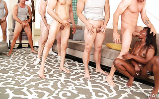 Tight Ana Foxx gets her black face cum coated by five white face fuckers