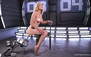 Racy blond Lily Labeau treats her coochie with fucking machine