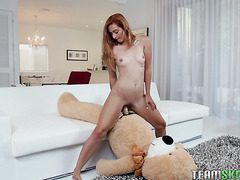 Towering redhead Cadence Lux fucks teddy bear before handling real dick She