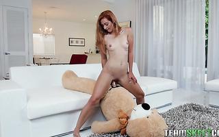 Towering redhead Cadence Lux fucks teddy bear before handling real dick She