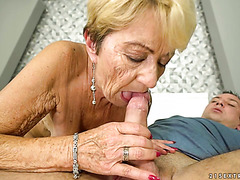 Old crone Malya gets her hundred years old cunt fucked by young man