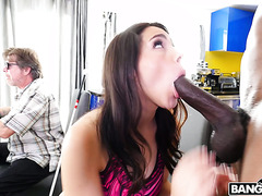 Curvy Valentina Nappi gets blacked in front of her blind daddy