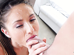 Long fat cock makes petite newcomer Shiloh Sharada very damn happy