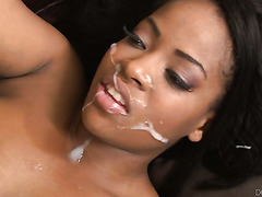 Fat black skank Monique Symone drilled by gang of white boys