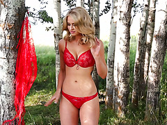 Flawless babe Maya Rae gets nasty deep in the wild among the trees