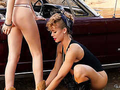 Classy chicks Ariana Marie and Nicole Aniston make out by the highway