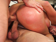 Insane orgasms for fake boobed Virginia Tunnels in hardcore gang bang