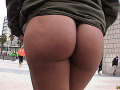 Punky Latina teen flashes her big booty on the streets before fucking