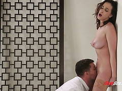 Sub babe Ashley Adams is manhandled to shuddering orgasms