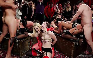 BDSM orgy with Aiden Starr, Amara Romani, Sadie Santana, Kasey Warner, Ember Stone