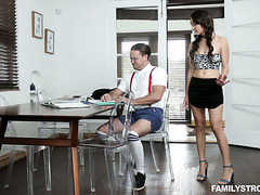 Brunette Jade Amber orgasms on nerdy stepbro's giant cock